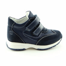 Runner's Navy Leather Trainers (SS-8001) - SIMPLY SHOES HONG KONG