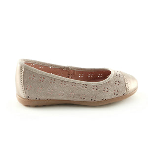 Taupe Combo Leather girls ballerina shoe (SS-7036) - SIMPLY SHOES HONG KONG