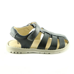 Crafted Black Leather Boys Sandals (SS-8007)