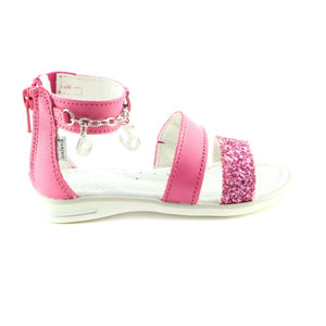 Sparkling Fuxia Leather girls sandal (SS-7044)