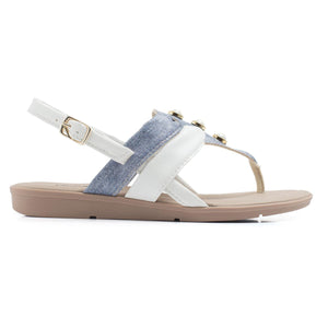 White/Denim Sandals for Women (401.208)
