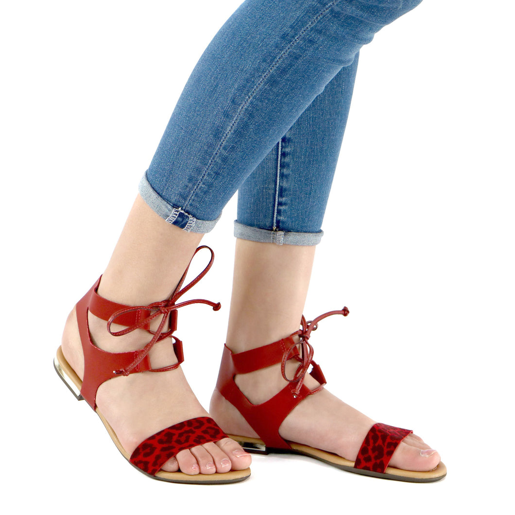 Burgundy Sandals for Women (510.038) - SIMPLY SHOES HONG KONG