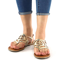 Gold Sandals for Women (533.001) - SIMPLY SHOES HONG KONG
