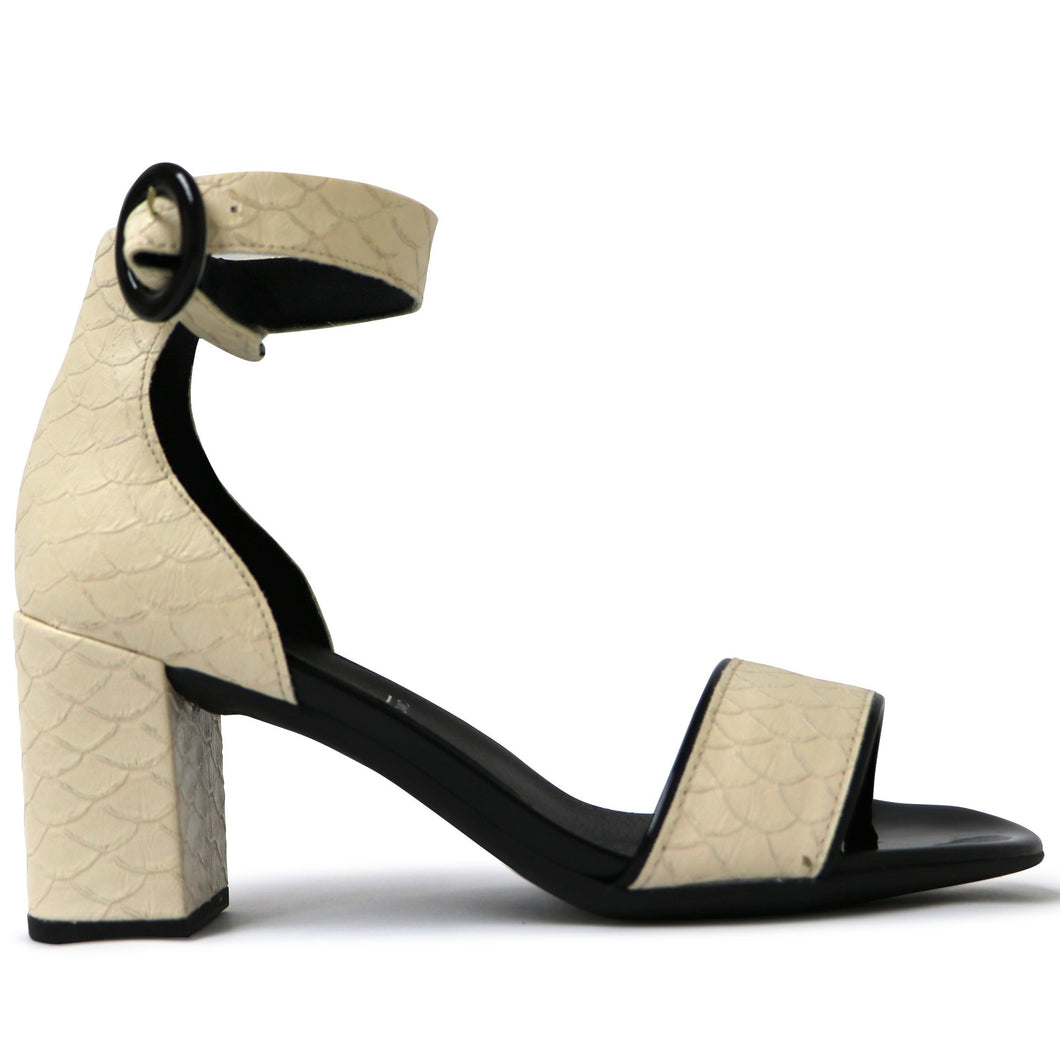Cream Nappa Croco Heels for Women (685.005) - SIMPLY SHOES HONG KONG