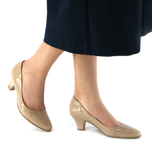 Taupe Patent Pumps for Women (703.001) - SIMPLY SHOES HONG KONG