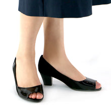 Black Microfiber/Pat Peep Toe Pumps for Womens (714.080)