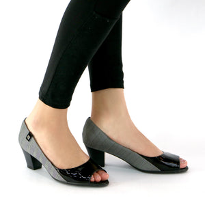 Black/Grafite Peep Toe Pumps for Womens (714.080)