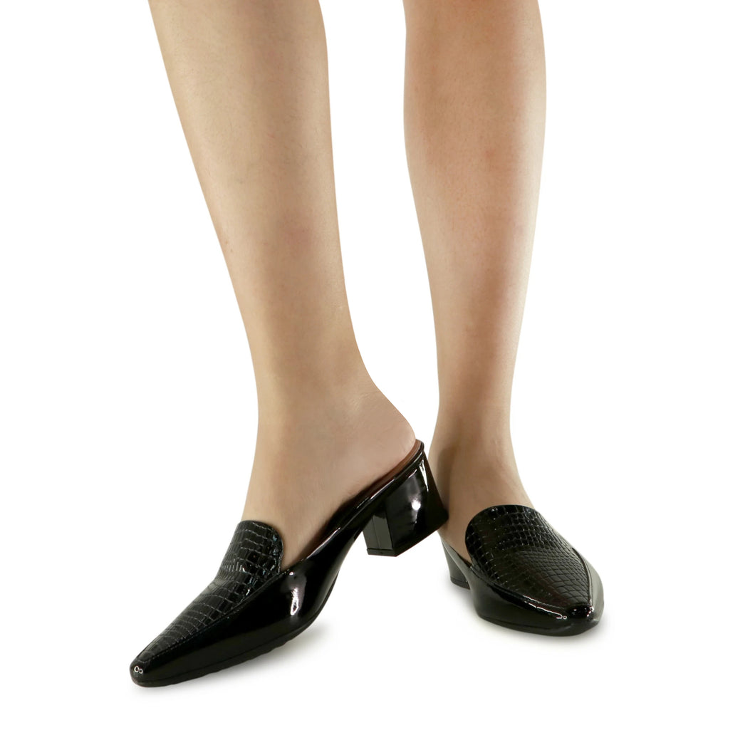 Black Croco Slip Ons for Women (744.064) - SIMPLY SHOES HONG KONG