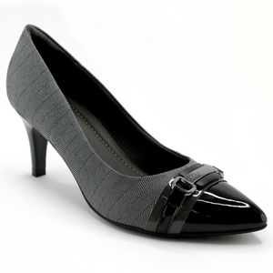 Black Patent with Textile Pumps (745.051)