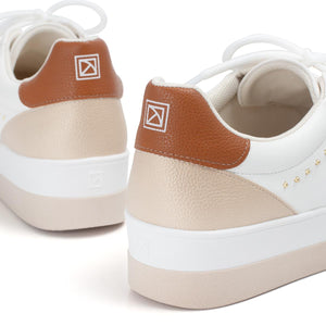 White/Tan Sneakers for Women (982.012)