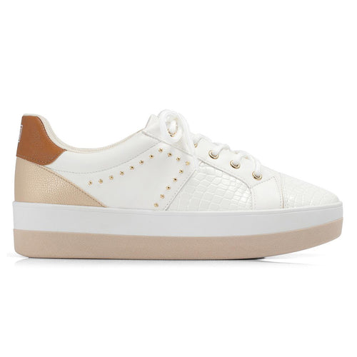 White/Tan Sneakers for Women (982.012) - Simply Shoes Hong Kong