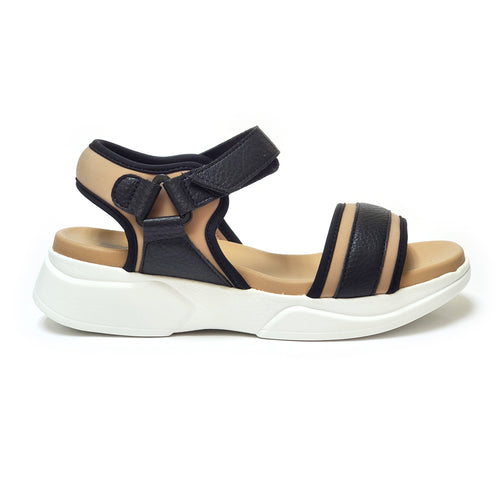 Taupe/ Black ENERGY Sandals for Women (990.002) - SIMPLY SHOES HONG KONG