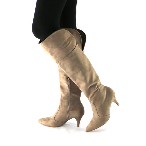 Taupe Microfibra and Snake Knee Boot (745.057)