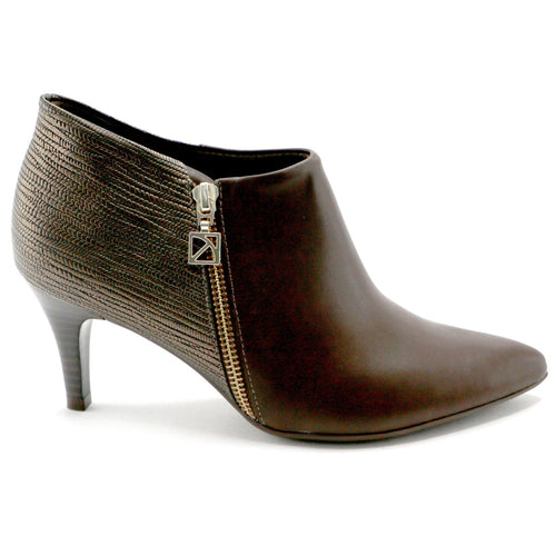 Brown Napa and Bronze Ankle Boot (745.055) - SIMPLY SHOES HONG KONG