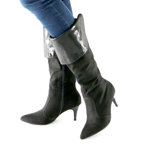 Black Microfiber High Knee Boots(745.057) - SIMPLY SHOES HONG KONG