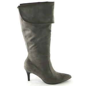 Grey Microfiber High Knee Boots(745.057) - SIMPLY SHOES HONG KONG
