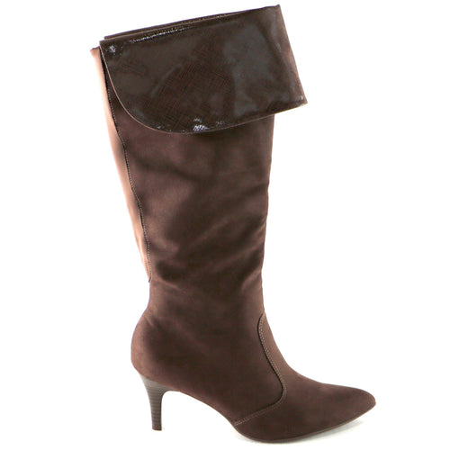 Brown Micro/Snake Knee Boot (745.057) - SIMPLY SHOES HONG KONG