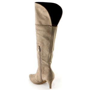 Taupe Snake Microfiber Knee Boots(745.057) - SIMPLY SHOES HONG KONG