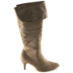 Taupe Microfiber and Snake Knee Boot (745.057) - SIMPLY SHOES HONG KONG