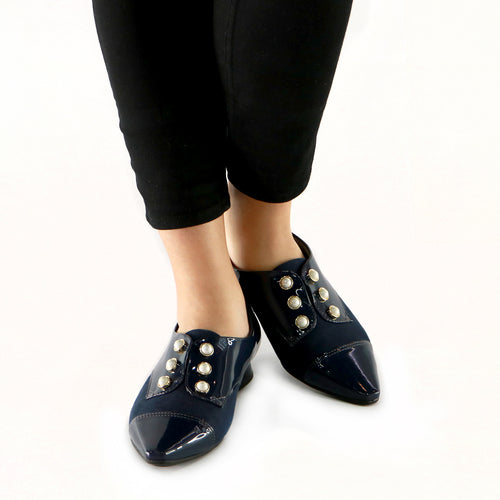 Navy Patent with Microfiber and Pearl Accessories loafer (278.003)