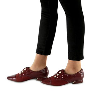 Burgandy Pat with microfiber and Pearl accessories loafer (278.003) - SIMPLY SHOES HONG KONG