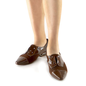 Brown Napa and stretch Ladies loafer (278.007)