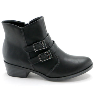Buckles Black Napa Ankle Boot (652.006) - SIMPLY SHOES HONG KONG