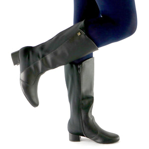 Black Napa and Stretch Ladies Long boot (141.079)