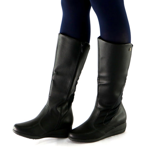 Black Napa with Stretch Long Boot (117.032) - SIMPLY SHOES HONG KONG