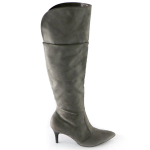 Grey Snake Microfiber High Knee Boots(745.057) - SIMPLY SHOES HONG KONG