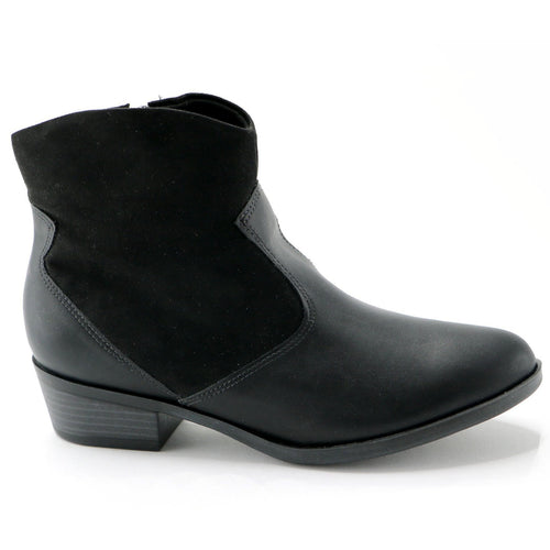 Napa and Microfibra Black Ankle Boot (652.005)