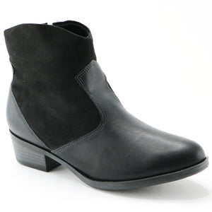 Black Napa and Microfiber Ankle Boot (652.005) - SIMPLY SHOES HONG KONG