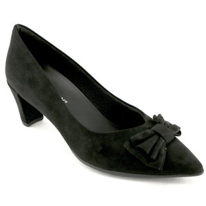 Black Microfiber with bow Ladies Pumps (119.005) - SIMPLY SHOES HONG KONG