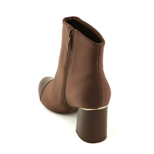 Brown Pat with Stretch Ladies Ankle Boots (155.001)