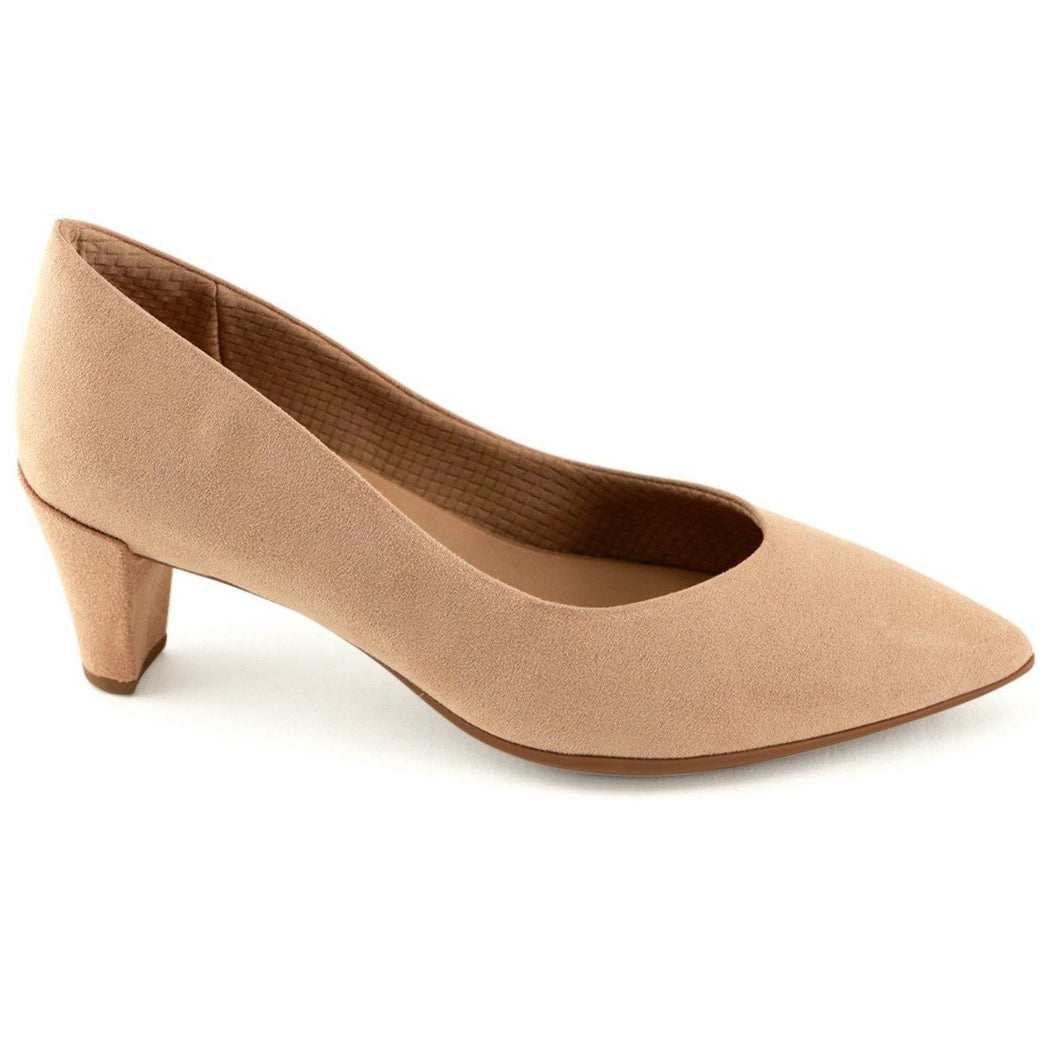 Nude Microfiber Pointy Pumps (119.008) - SIMPLY SHOES HONG KONG