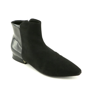 Black Micro with Patent Ladies Ankle Boots (278.004)