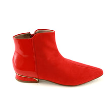 Red Micro with Patent Ladies Ankle Boots (278.004) - SIMPLY SHOES HONG KONG