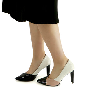White Croco with Rose Pat Ladies High Heel Ladies Pumps (749.002) - SIMPLY SHOES HONG KONG