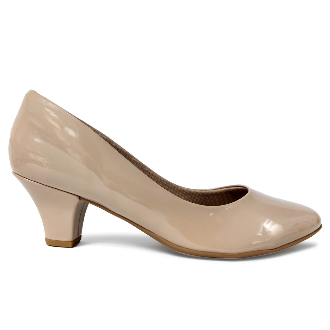 Taupe Patent Pumps for Women (703.001)