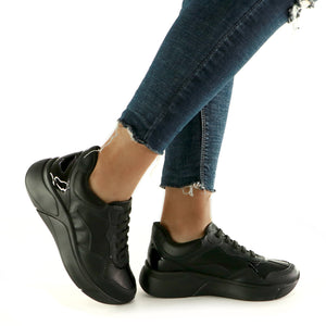 All Black Sneakers for Women (986.002) - Simply Shoes Hong Kong