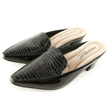 Black Croco Slip Ons for Women (744.064)