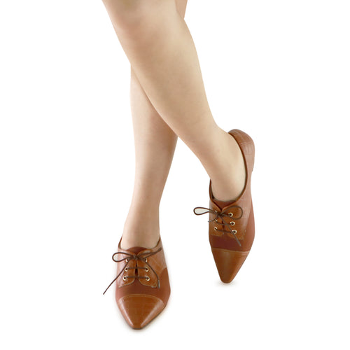Coffee Lace-Up Flats for Women (278.019)