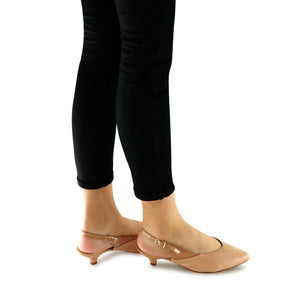 Nude Sling back pumps for Women (275.005)