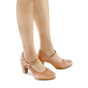 Nude Patent Heels for Women (130.197)