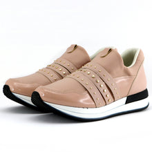 Nude ENERGY Sneakers with Gold Studs for Women (974.014) - SIMPLY SHOES HONG KONG