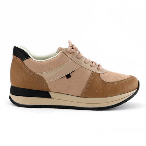 Nude/Tan Laced up ENERGY Sneakers for Women (974.015) - Simply Shoes Hong Kong