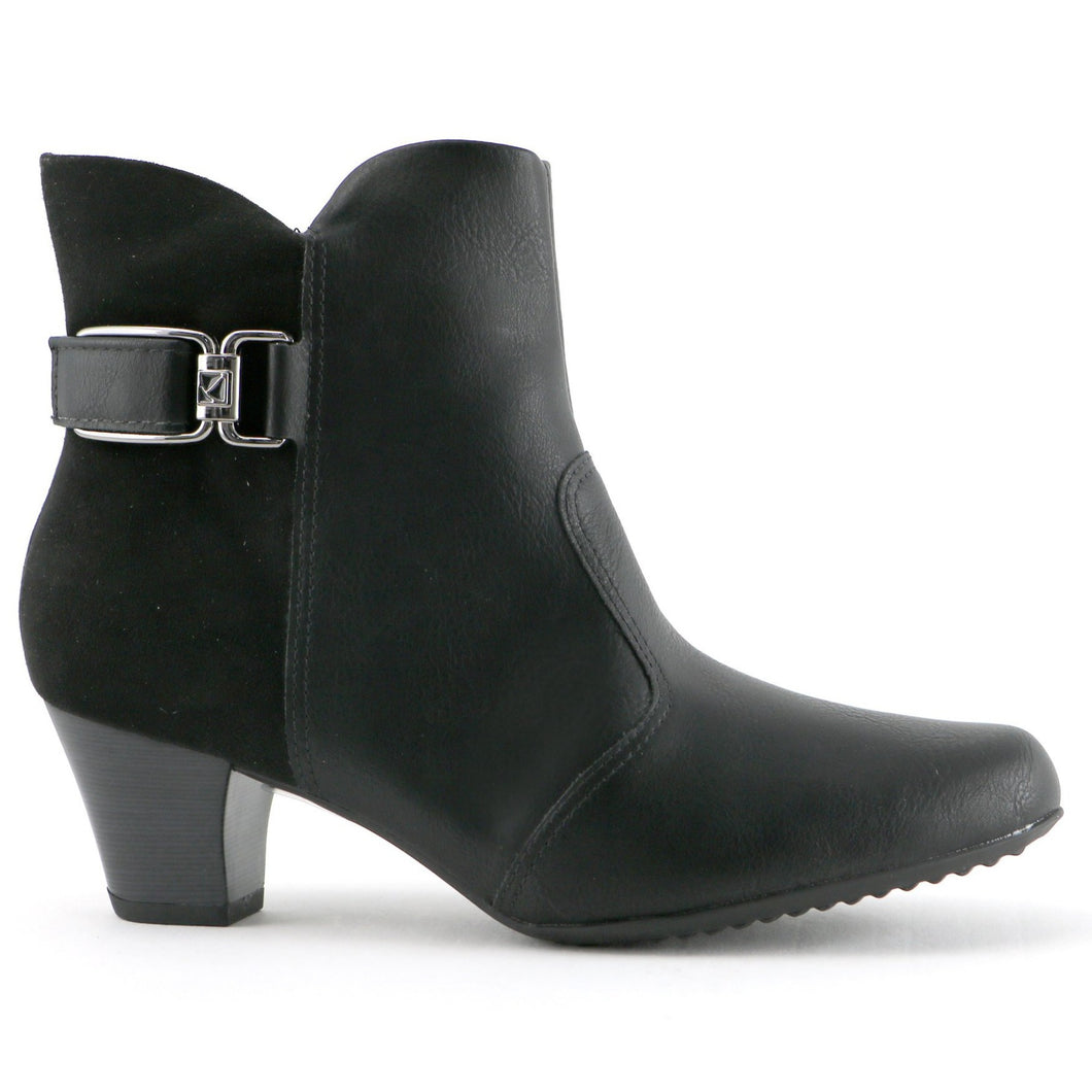 Microfibra Black Relax booties for Women (111.082) - SIMPLY SHOES HONG KONG