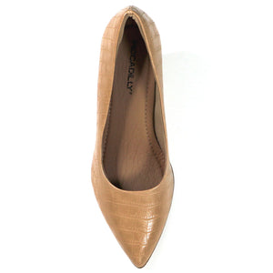 Nude Nappa Croco Pumps for Women (745.035) - SIMPLY SHOES HONG KONG