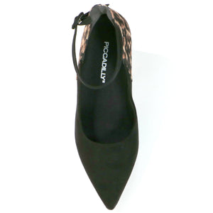 Pointy Black Leopard Heels for Women (749.009) - SIMPLY SHOES HONG KONG