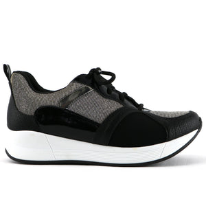 Black Silver Sneakers for Women (973.029) - Simply Shoes Hong Kong